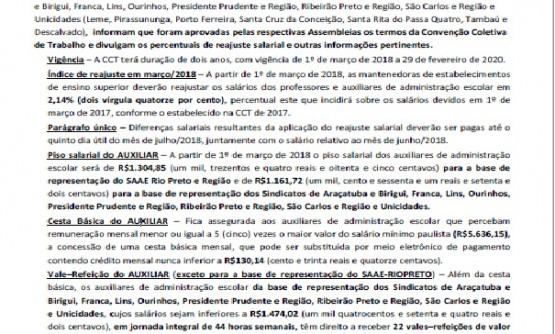 COMUNICADO CONJUNTO SEMESP/FEPESP-SINPROVALES 001-2018
