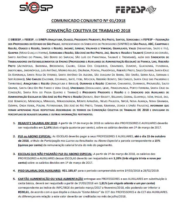 COMUNICADO CONJUNTO SIEEESP/FEPESP-SINPROVALES 001-2118