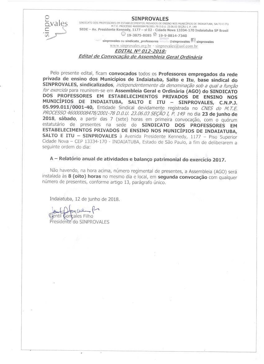 ASSEMBLEIA DE PRESTAÇÃO DE CONTAS 2017