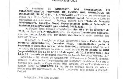 ELEIÇÕES GERAIS NO SINPROVALES: GESTÃO 2018-2021