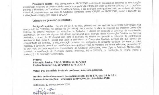 COMUNICADO CONTRIBUIÇÃO ASSISTENCIAL 2018 - PRAZO PARA OPOSIÇÃO