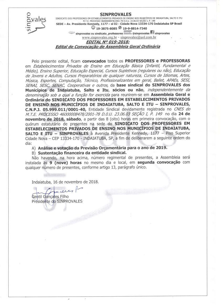 PREVISÃO ORÇAMENTÁRIA 2019