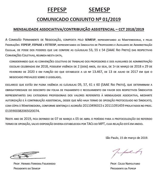 CONTRIBUIÇÃO ASSOCIATIVA E ASSISTENCIAL 2019 PROFESSORES DO ENSINO SUPERIOR