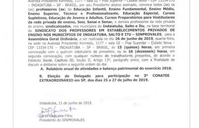 EDITAL DE ASSEMBLEIA GERAL E ORDINÁRIA PRESTAÇÃO DE CONTAS DE 2018
