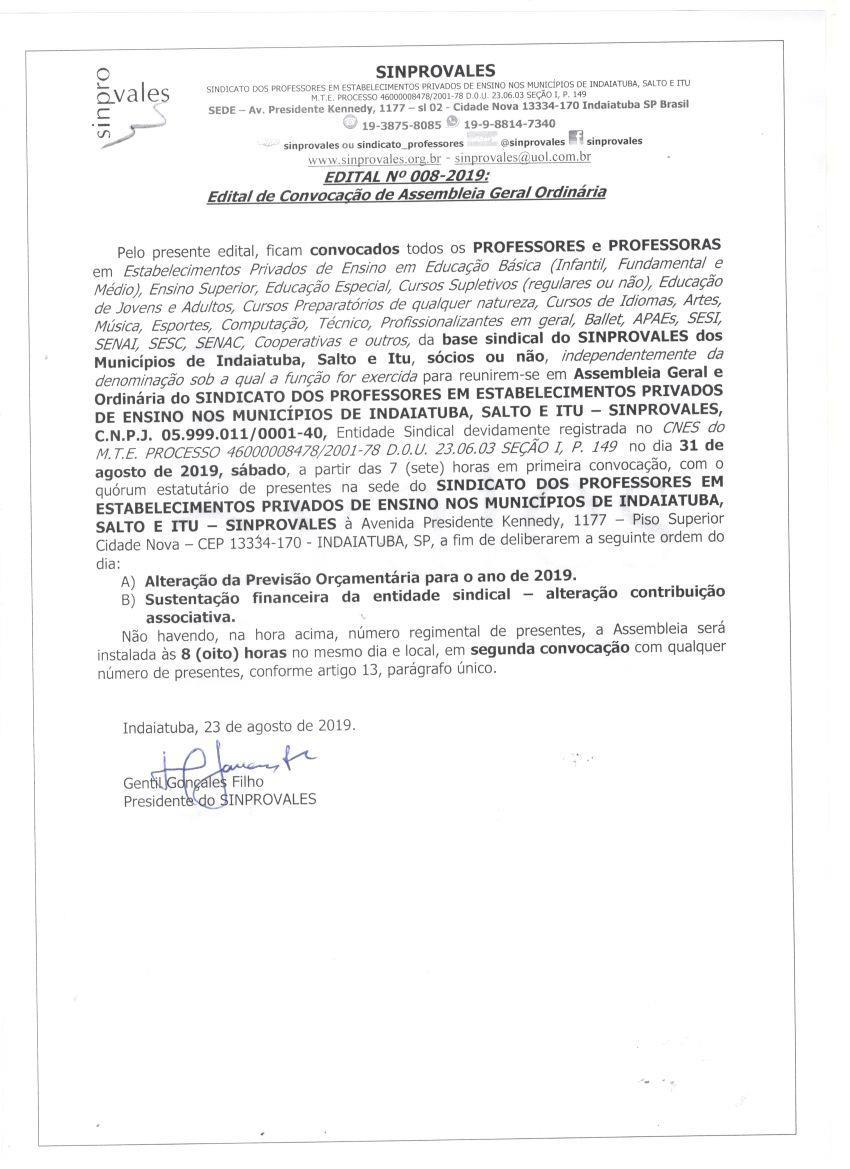 ASSEMBLEIA GERAL E ORDINÁRIA