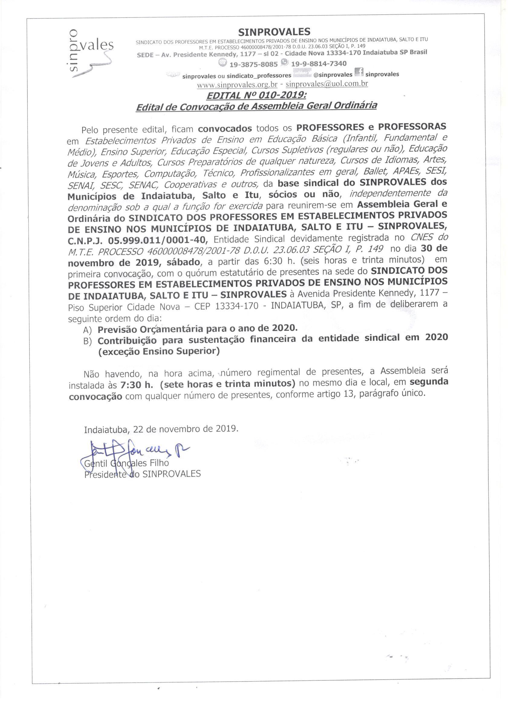 ASSEMBLEIA ORDINÁRIA DE PREVISÃO ORÇA,MENTÁRIA 2020 E SUSTENTAÇÃO DO SINDICATO - CONTRIBUIÇÕES DA EDUCAÇÃO BÁSICA E SISTEMA S