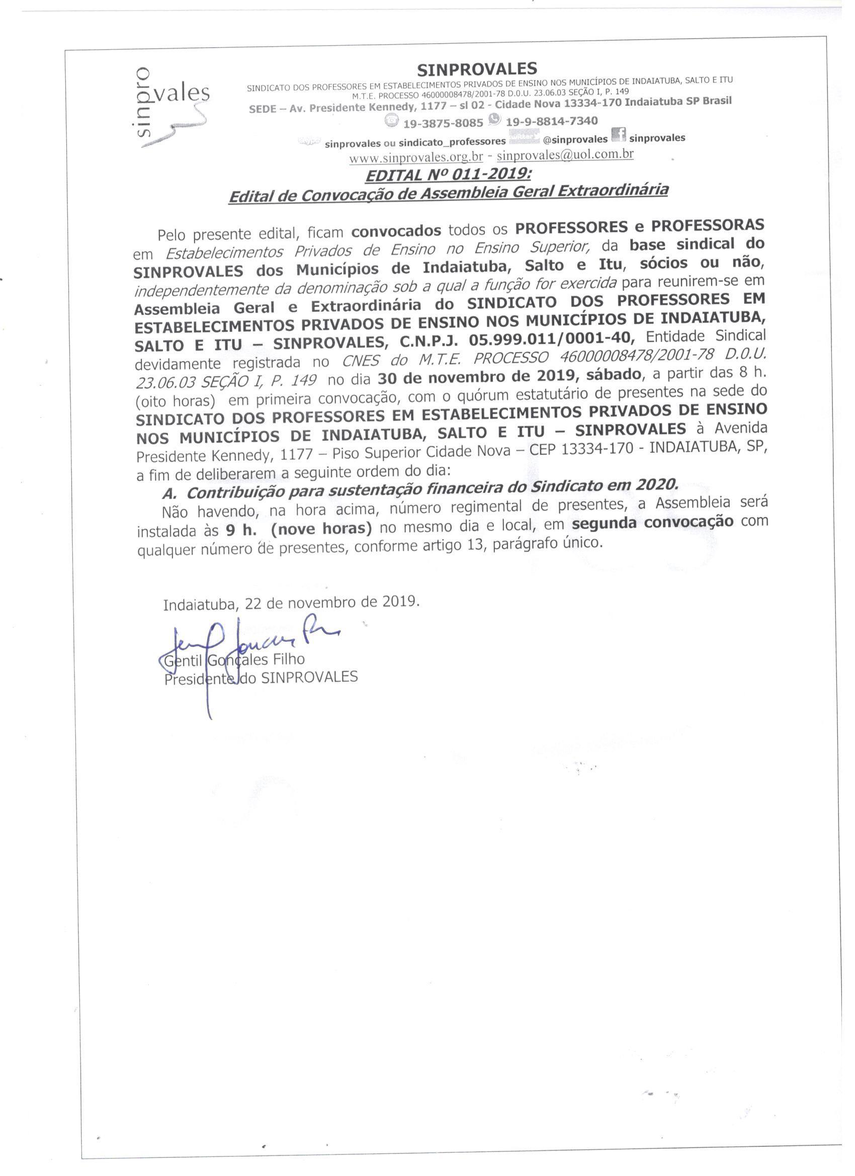 ASSEMBLEIA DOS PROFESSORES DO ENSINO SUPERIOR - SUSTENTAÇÃO DO SINDICATO EM 2020