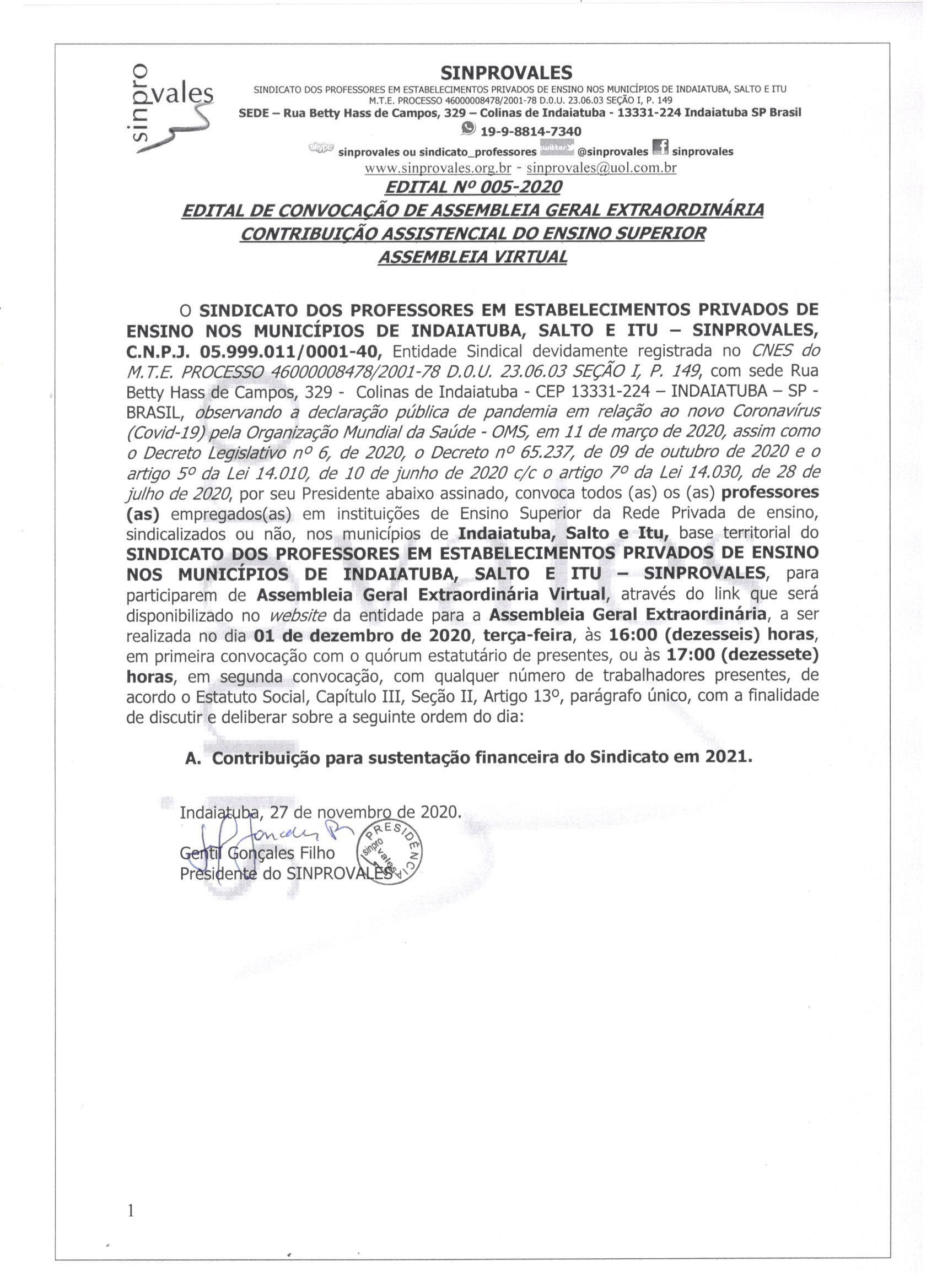 CONTRIBUIÇÃO ASSISTENCIAL ENSINO SUPERIOR 2021