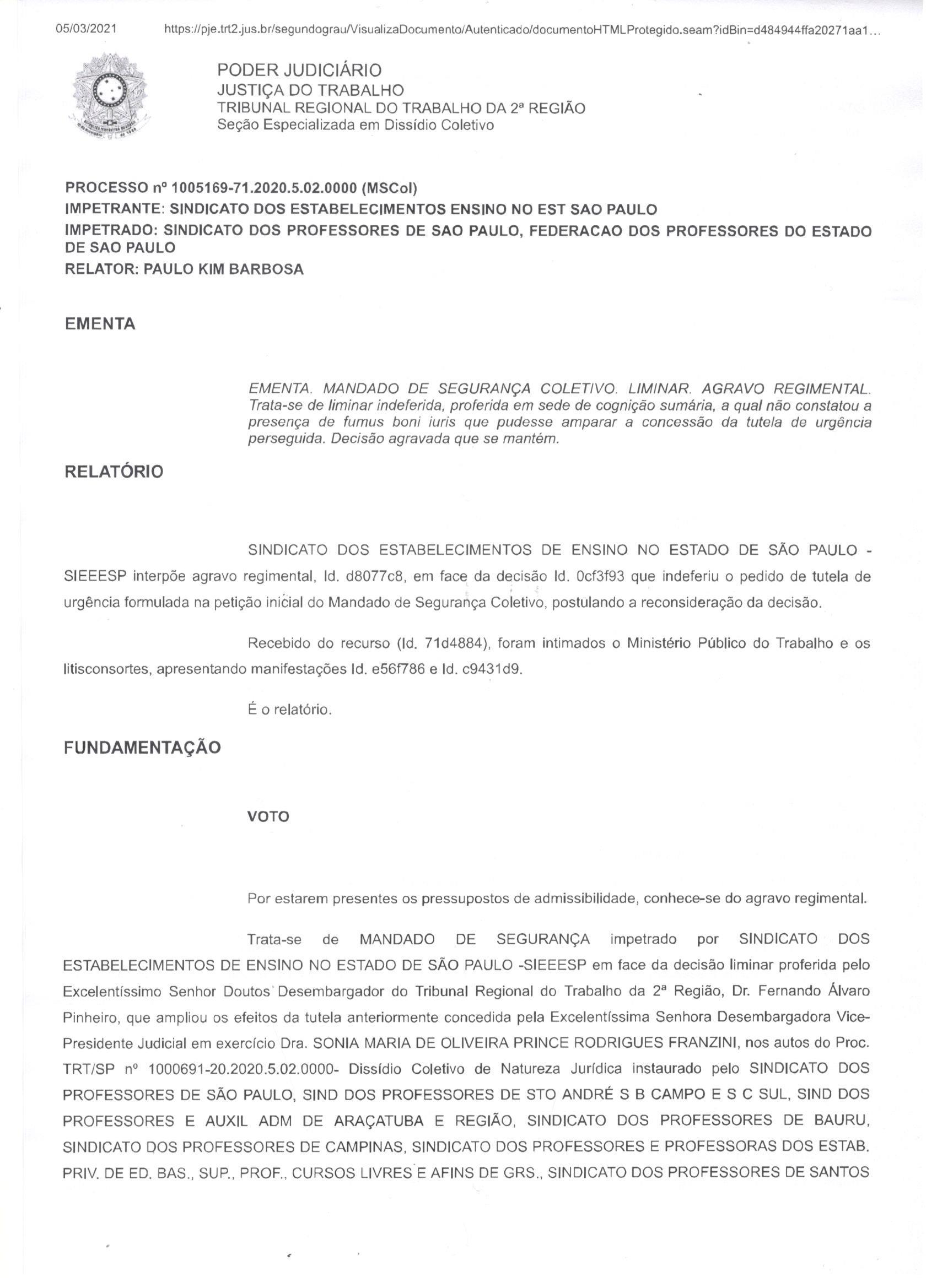 LIMINAR DE AFASTAMENTO DE PROFESSORES